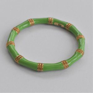 Lilly Pulitzer Gold Tone and Green Bamboo Bracelet